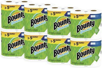 In-Stock! Bounty Quick-Size Paper Towels, White, 16 Family Rolls