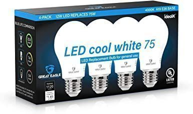 Great Eagle A19 LED Light Bulb, 12W (75W Equivalent), Non-dimmable, 4pk