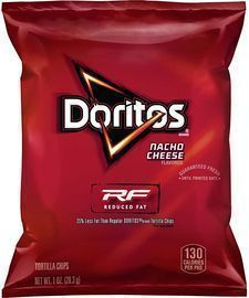 Doritos Reduced Fat Nacho Cheese Flavored Tortilla Chips (Pack of 72)