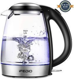 iFedio Electric Kettle 1.7L Cordless Glass Water Boiler with / Electric Teapot