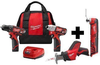Milwaukee M12 12V Li-Ion Drill/Impact Driver 3-Tool Combo Kit + Free M12 Multi-Tool