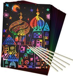 ZMLM 50 Piece Rainbow Magic Scratch Paper Set