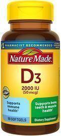 Nature Made 90 Count Vitamin D3 2000 IU (50 mcg) Softgels