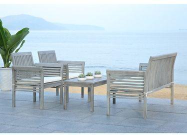Glynn 4 Piece Sofa Seating Group with Cushions, Grey Wash