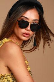 Black and Gold Round Sunglasses