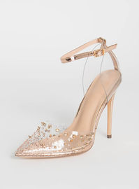 Studded Rose Gold Jeweled Clear Heels