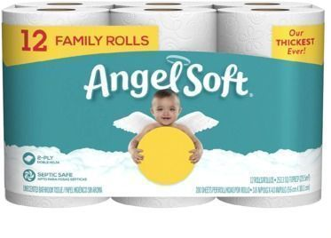 Angel Soft 12 Pack Bath Tissue 12 Family Rolls