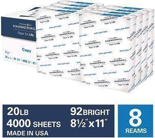 8 Ream Case - Hammermill 20lb Copy Paper, 8.5 x 11, 4,000 Sheets
