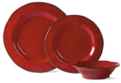 Lanai 12 Pack Melamine Red Dinnerware Set