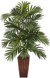 Nearly Natural Areca Palm with Bamboo Vase Decorative Silk Plant