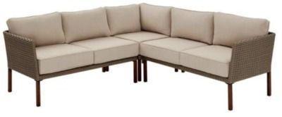 Hampton Bay 3pc Steel Outdoor Patio Sectional Sofa with Tan Cushions