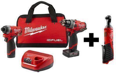 Milwaukee M12 FUEL 12V Li-Ion Hammer Drill & Impact Driver Combo Kit w/ Free M12 3/8 Ratchet