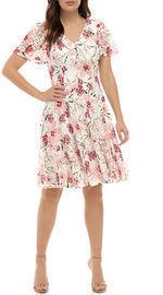 Chris McLaughlin Women's Flutter Sleeve Floral V Neck Dress