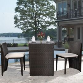 3pc Wicker Patio Cushioned Outdoor Chair and Table Set