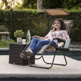 Back in Stock!  Folding Zero Gravity Recliner Lounge Chair w/ Canopy