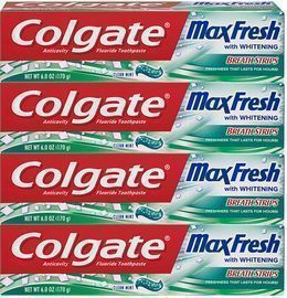 Colgate Max Fresh Whitening Toothpaste with Breath Strips (4-Pack)