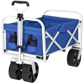 Best Choice Products Folding Collapsible Utility Wagon Cart w/ All-Terrain Wheels, Blue