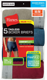 Hanes 5 Pack Men's Tagless Boxer Briefs (Assorted Colors)
