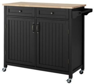 StyleWell Bainport Black Kitchen Cart with Butcher Block Top