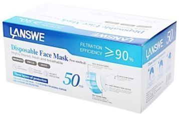 LANSWE Disposable Face Mask - 50pk