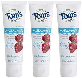 3pk Tom's of Maine Fluoride-Free Children's Toothpaste, Silly Strawberry