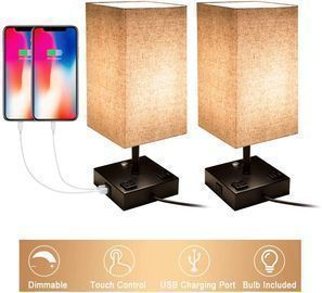 Two Touch Control Dimmable Table Lamps w/ USB Charging Ports & AC Outlets