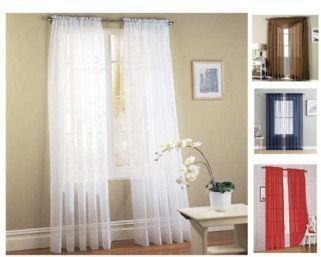 Jasmine Linen 2 pc Sheer Luxury Curtain Panel Set (White)