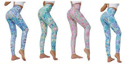 Women's Printed Yoga Pants - Floral High Rise