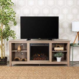 Sunbury TV Stand with Electric Fireplace, Driftwood