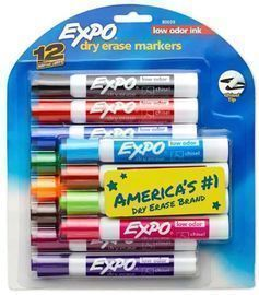 EXPO Low Odor Dry Erase Markers, Chisel Tip, Assorted Colors - 12ct
