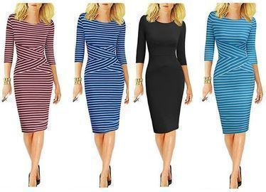 3/4 Sleeve Striped Wear to Work Business Cocktail Pencil Dress
