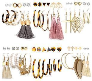 36 Pairs of Tassel, Hoop, & Stud Earrings