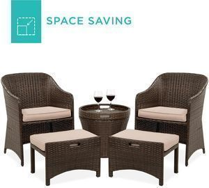 5-Piece Outdoor Wicker Bistro Set