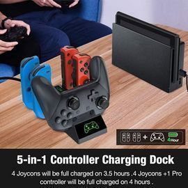 Charging Dock for Nintendo Switch Joy-Con, 5 in 