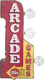 American Art Decor Vintage Arcade Games Sign