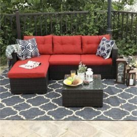 3-Piece Rattan Outdoor Sectional Sofa Set