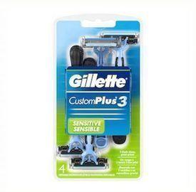 4 Count Gillette CustomPlus3 Disposable Razors