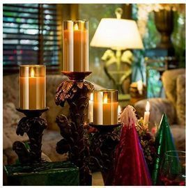 Flickering Glass Candle Set