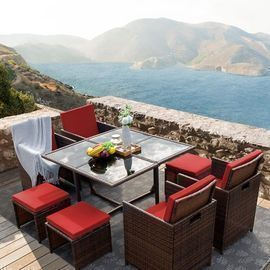 Walnew 9 Pieces Patio Dining Set Cushioned w/  Ottoman (Red)