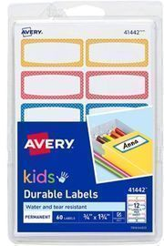 Avery Durable Labels for Kids Gear - 60ct