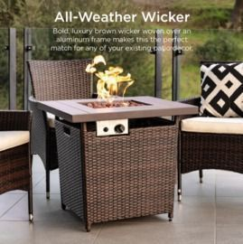 28 Fire Pit Table 50,000 BTU Wicker Propane w/ Faux Wood Tabletop