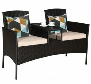 Patio Rattan Conversation Set w/ Table
