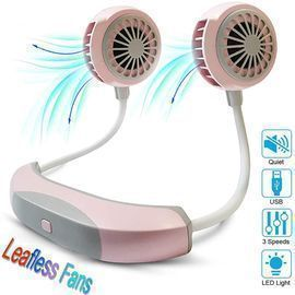 Mini Portable Neck Fan with USB Rechargeable LED Light