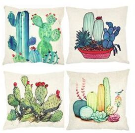 Tropical Cactus Throw Pillow Covers - 4ct