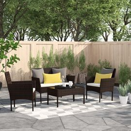 Moro 4 Piece Rattan Sofa Seating Group w/ Cushions