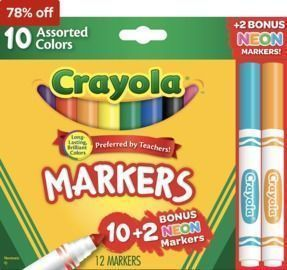 Crayola 12/Box Markers Assorted colors + Bonus Pack