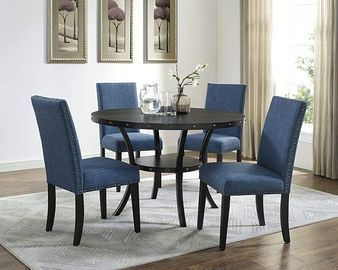 Roundhill Furniture Biony Blue Dining Chairs (2 set)