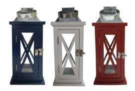 13 Wooden Lantern with Galvanized Top