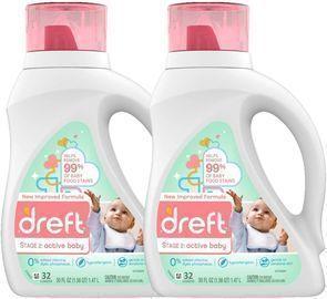 2pk Dreft Stage 2: Active Hypoallergenic Liquid Baby Laundry Detergent