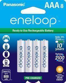 Panasonic 8pk BK-4MCCA8BA eneloop AAA Batteries